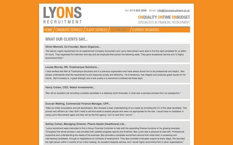 Screenshot of Testimonials Page lyonsrecruitment.co.uk - Lyons Recruitment | Yorkshire & Humberside | enquiries@lyonsrecruitment.co.uk | 0113 200 6893 - captured Sept. 30, 2014