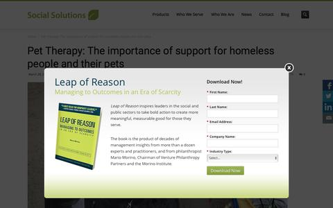 Screenshot of socialsolutions.com - Pet Therapy: The importance of support for homeless people and their pets - Social Solutions - captured March 30, 2016