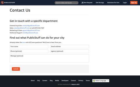 Screenshot of Contact Page publicstuff.com - PublicStuff ~ Contact - captured Sept. 12, 2014