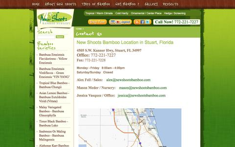 Screenshot of Contact Page newshootsbamboo.com - South Florida Bamboo Nurseries | Bamboo Plants for Sale | Bamboo Trees - captured April 10, 2017