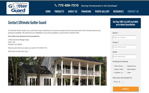 Screenshot of Contact Page ultimategutterguard.com - Contact Our Home Improvement Company - captured Oct. 18, 2018