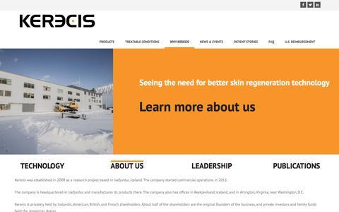 Screenshot of About Page kerecis.com - About Us · Kerecis - captured July 13, 2018