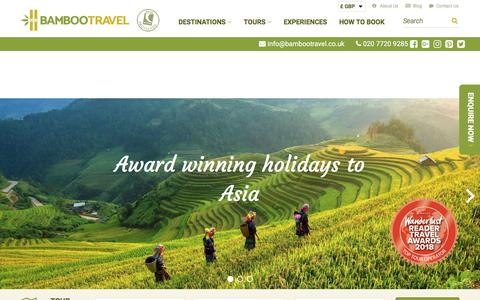 Screenshot of Home Page bambootravel.co.uk - Welcome to Bamboo Travel - captured Aug. 1, 2018