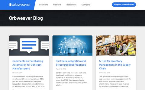 Screenshot of Blog orbweaver.com - Electronics Supply Chain Automation Insights by Orbweaver - captured March 20, 2019
