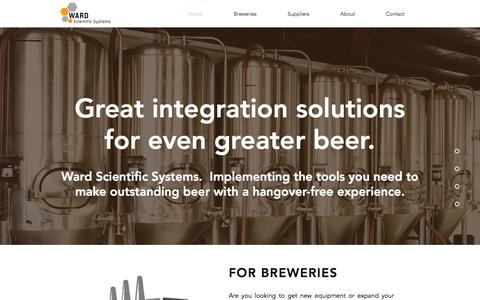 Screenshot of Home Page ward-sci.com - Ward Scientific Systems - Brewery Systems Integration Consultants - captured Dec. 2, 2016