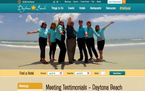 Screenshot of Testimonials Page daytonabeach.com - Daytona Beach Testimonials | Meetings and Events in Daytona - captured Jan. 15, 2016
