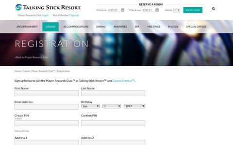 Screenshot of Signup Page talkingstickresort.com - Registration - captured Sept. 30, 2017