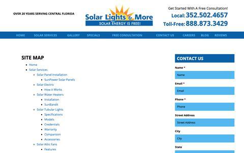 Screenshot of Site Map Page solarlightsandmore.com - Site Map   Ocala, Florida Solar Services   Solar Lights & More - captured Oct. 18, 2018