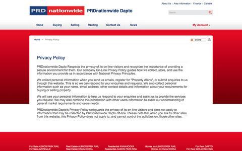 Screenshot of Privacy Page prddapto.com.au - Real Estate Dapto | Property Dapto - captured Oct. 1, 2014