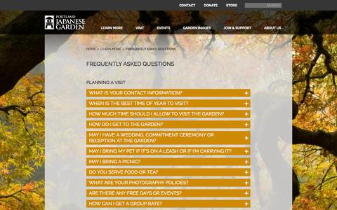 Screenshot of FAQ Page japanesegarden.com - Frequently Asked Questions  |  Portland Japanese Garden - captured Sept. 25, 2014
