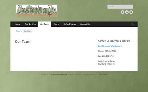 Screenshot of Team Page treasurevalleytax.com - Our Team – Treasure Valley Tax - captured Oct. 20, 2018