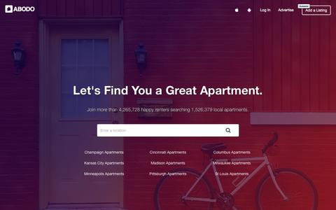 Screenshot of Home Page abodo.com - Find Apartments for Rent Near You   ABODO - captured May 9, 2017