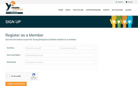 Screenshot of Signup Page yes.org.uk - Young Enterprise Scotland - Sign Up - captured Oct. 19, 2018