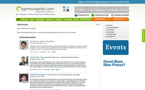 Screenshot of Testimonials Page opportunejobs.com - Jobs | Employment | Job postings | Job search | OpportuneJobs.comhip, Tender, resume maker) - captured Oct. 26, 2014