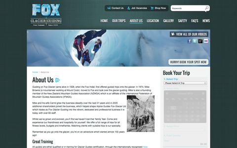 Screenshot of About Page foxguides.co.nz - Fox Glacier Guiding West Coast New Zealand Mountain Guides NZMGA - captured Oct. 6, 2014