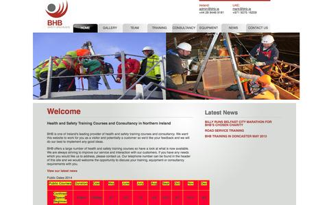 Screenshot of Home Page bhb.ie - Health and Safety Training, Courses, Consultancy, Northern Ireland - BHB - captured Oct. 4, 2014