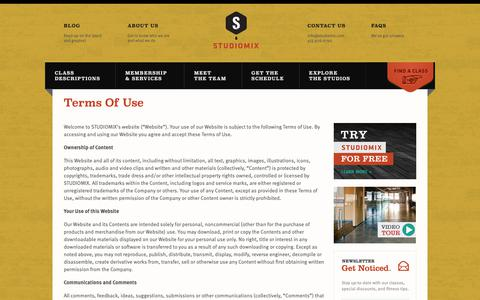 Screenshot of Terms Page studiomix.com - Terms Of Use - STUDIOMIX - captured Oct. 20, 2018