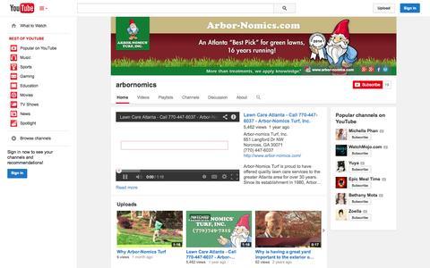 Screenshot of YouTube Page youtube.com - arbornomics  - YouTube - captured Oct. 23, 2014
