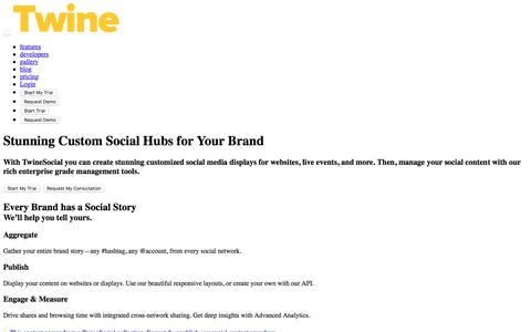Screenshot of Home Page twinesocial.com - TwineSocial: Build Social Media Hubs for Brands and Agencies - captured June 6, 2018