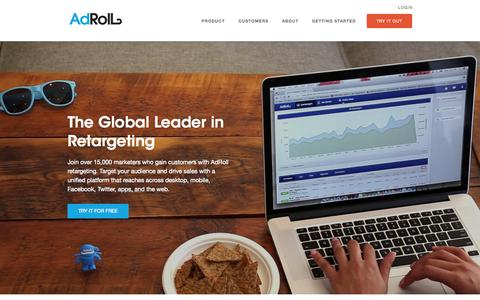 Screenshot of Home Page adroll.com - Retargeting and Performance Marketing Platform | AdRoll - captured Jan. 15, 2015