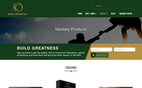 Screenshot of Products Page jamesray.com - Mastery Products - James Arthur Ray | Life Coach | Business Turn Around Expert - captured Nov. 26, 2016