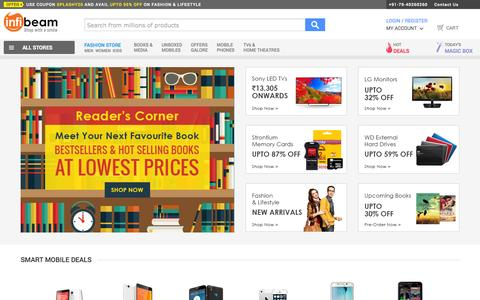 Screenshot of Home Page infibeam.com - Online Shopping India, Shop Online Mobiles, Books, Lifestyle & more - Infibeam.com - captured Oct. 1, 2015