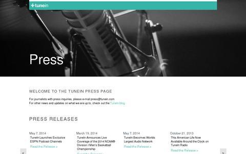 Screenshot of Press Page tunein.com - TuneIn Radio - captured July 20, 2014