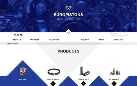 Screenshot of Products Page europistons.eu - pistons - captured Nov. 24, 2016