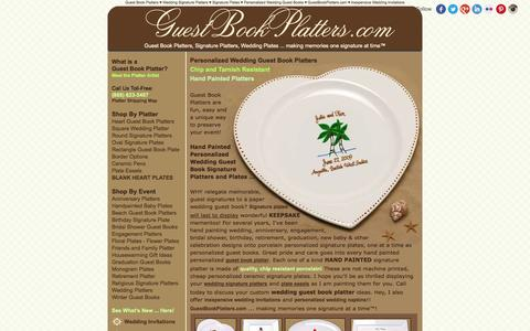 Screenshot of Home Page guestbookplatters.com - personalized wedding guest book platters, ceramic signature plates, inexpensive wedding invitations - captured Jan. 27, 2015