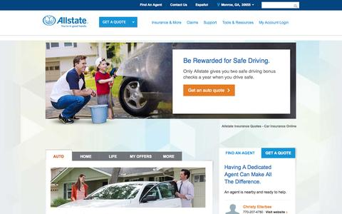 Screenshot of Home Page allstate.com - Auto Insurance Quotes - Car Insurance | Allstate Online Quote - captured Jan. 22, 2015