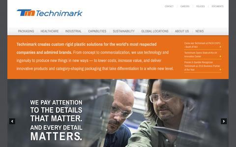 Screenshot of Home Page technimark.com - Home - Technimark - Turnkey Injection Molding - Packaging, Healthcare & Industrial Markets - captured June 28, 2018