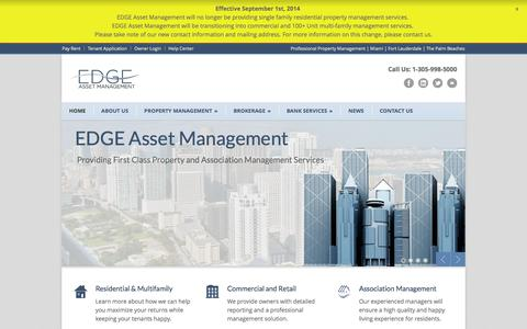 Screenshot of Home Page edgeasset.com - EDGE Asset Management - Property Management in Miami, Fort Lauderdale, West Palm Beach and South Florida - captured Oct. 1, 2014