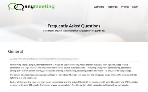 Screenshot of FAQ Page anymeeting.com - Web Conferencing Frequently Asked Questions, Web Conferencing FAQ | AnyMeeting - captured Oct. 16, 2016