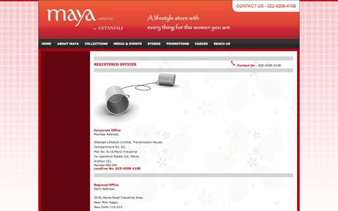 Screenshot of Contact Page mayabygitanjali.com - Contact Us - captured Nov. 2, 2014