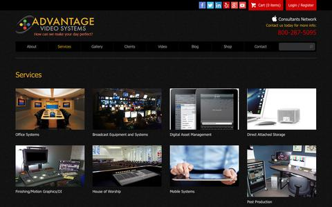Screenshot of Services Page advantagevideosystems.com - Services | Advantage Video Systems,Internet Video Streaming Burbank, California - captured Sept. 30, 2014