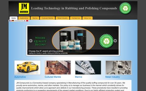 Screenshot of Home Page jmcompounds.com - JM Compounds - Leading Technology in Rubbing & Polishing Compounds - captured Sept. 30, 2014