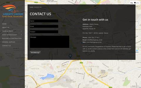 Screenshot of Contact Page libertygroup.co.ke - CONTACT US - captured Jan. 23, 2016
