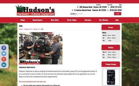 Screenshot of Jobs Page hudsonshardware.com - Jobs Hudson's Hardware & Outdoor Equipment - captured Dec. 6, 2017