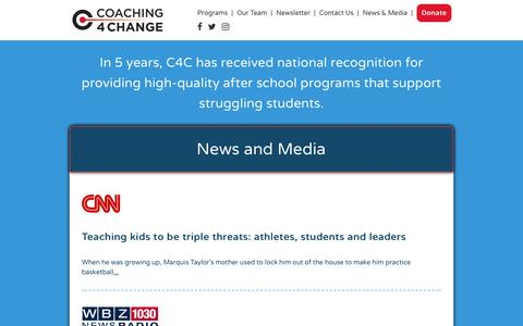 Screenshot of Press Page c4cinc.org - Coaching4Change - News & Media - captured Nov. 7, 2016