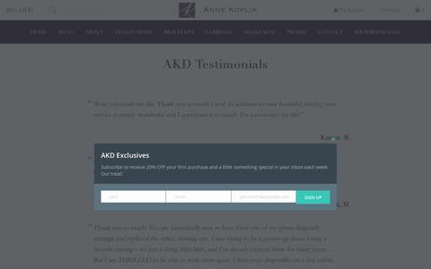 Screenshot of Testimonials Page annekoplik.com - AKD Testimonials | Anne Koplik Designs - captured Oct. 8, 2017