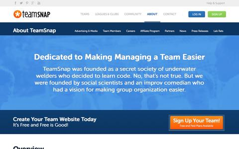 Screenshot of Team Page teamsnap.com - About | About | Manage Your Team Online with TeamSnap's Free Sports Team Websites - captured Sept. 17, 2014