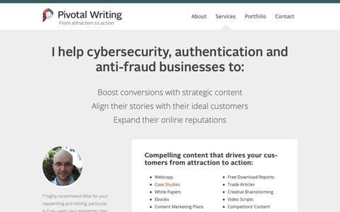 Screenshot of Services Page pivotalwriting.com - Pivotal Writing - captured Nov. 10, 2018