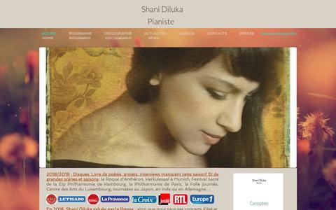 Screenshot of Home Page shanidiluka.com - Shani Diluka, Pianist Official site - captured Nov. 29, 2018