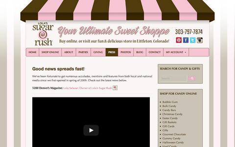 Screenshot of Press Page lolassugarrush.com - Press | Lola's Sugar Rush | Littleton, Colorado - captured Sept. 30, 2014