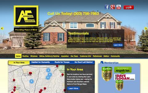 Screenshot of Home Page advancedexteriors.com - Advanced Exteriors - Advanced Exteriors - captured Oct. 4, 2014