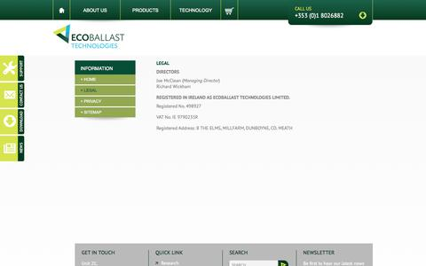 Screenshot of Terms Page ecoballast.com - Legal | Ecoballast Technologies - captured Oct. 1, 2014