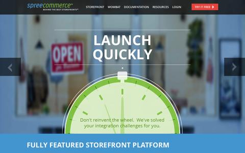 Screenshot of Home Page spreecommerce.com - Ecommerce Storefront and Platform Solutions | Spree Commerce - captured Jan. 15, 2015