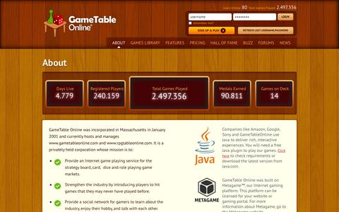 Screenshot of About Page gametableonline.com - About - captured Sept. 24, 2014