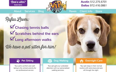 Screenshot of Home Page vippets.net - Professional pet sitting & dog walking in Austin & Dallas metro areas! - captured Jan. 26, 2015