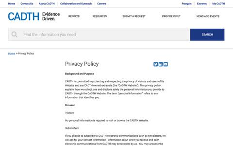 Screenshot of Privacy Page cadth.ca - Privacy Policy | CADTH.ca - captured July 12, 2017